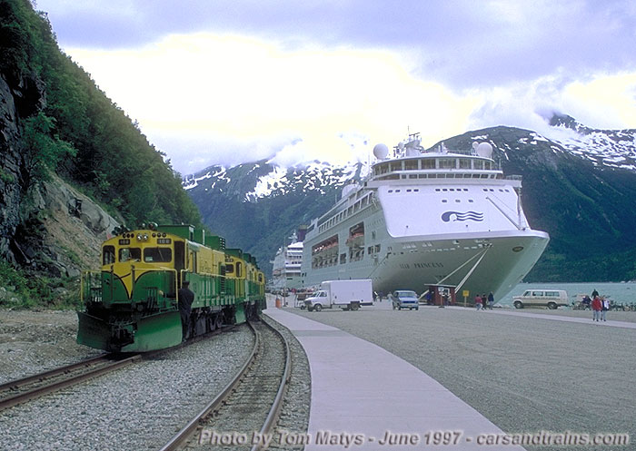Car With Road >> Iron Road White Pass & Yukon 101 class diesel electric engine 108 at Skagway dock